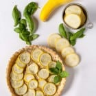 Vegan Summer Squash Tarts with Basil 'Ricotta'- a savory vegan summer squash tart with homemade cashew based vegan ricotta!