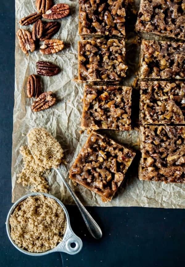 Vegan Maple Pecan Bars on sheet