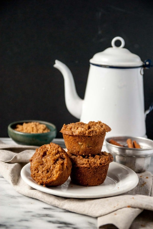 Vegan Apple Cinnamon Muffins with tea pot