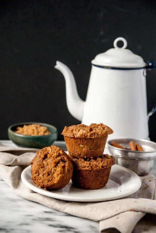 Vegan Apple Cinnamon Muffins with tea pot