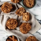 Vegan Cinnamon Apple Cider Muffins -Apples and a crunch cinnamon topping come together in Vegan Cinnamon Apple Cider Muffins to make a perfect sweet breakfast