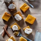 Vegan Pumpkin Cheesecake Bars- Vegan cheesecake is given a fall twist with pumpkin, spices and a vegan shortbread crust!