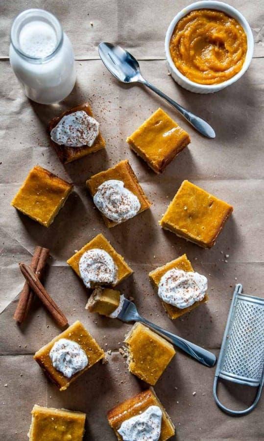 Vegan Pumpkin Cheesecake Bars-Vegan pumpkin cheesecake bars are given a fall twist with pumpkin, spices and a vegan shortbread crust!