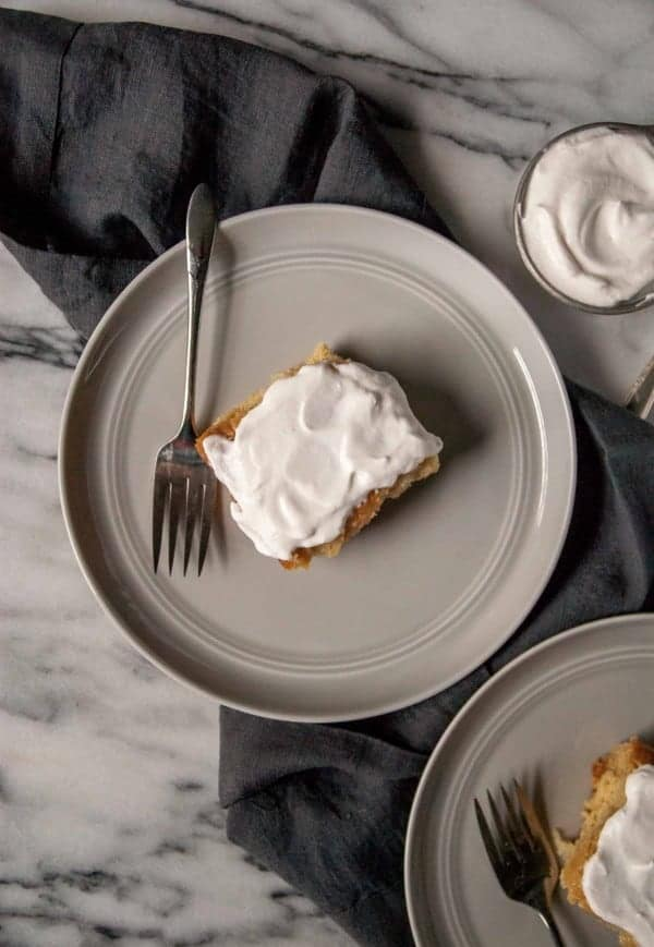 Vegan Tres Leches Cake with Rum Spiked Whipped Cream- An easy and sweet vegan tres leches cake, using almond, cashew, and coconut milk and topped with boozy whipped cream!