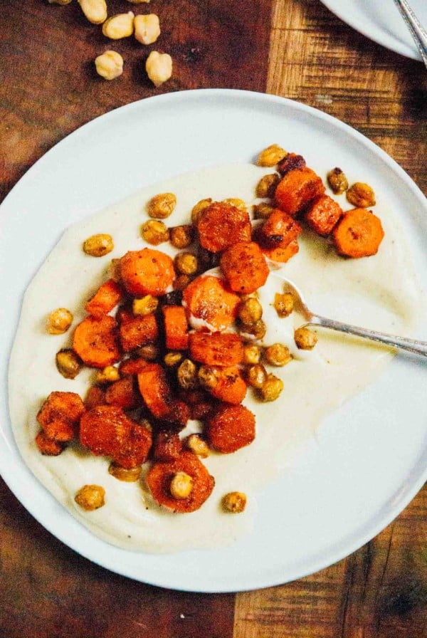 Cumin Roasted Carrots and Chickpeas with Vegan Parsnip Puree- A creamy ...