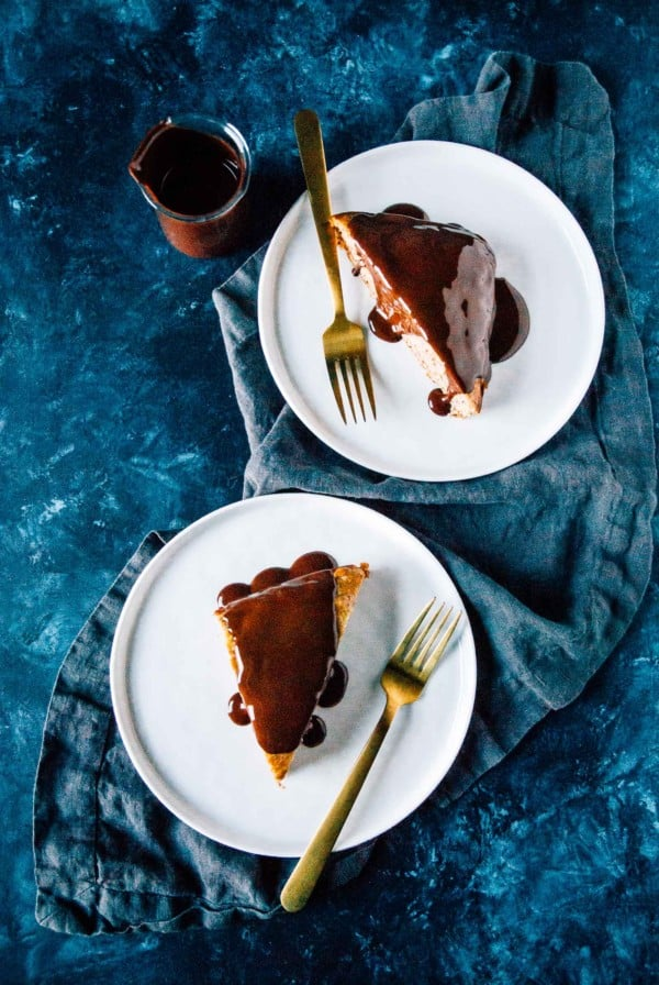 Banana Cake with Chocolate Peanut Butter Ganache- A sweet, fluffy vegan banana cake with the easiest chocolate ganache!