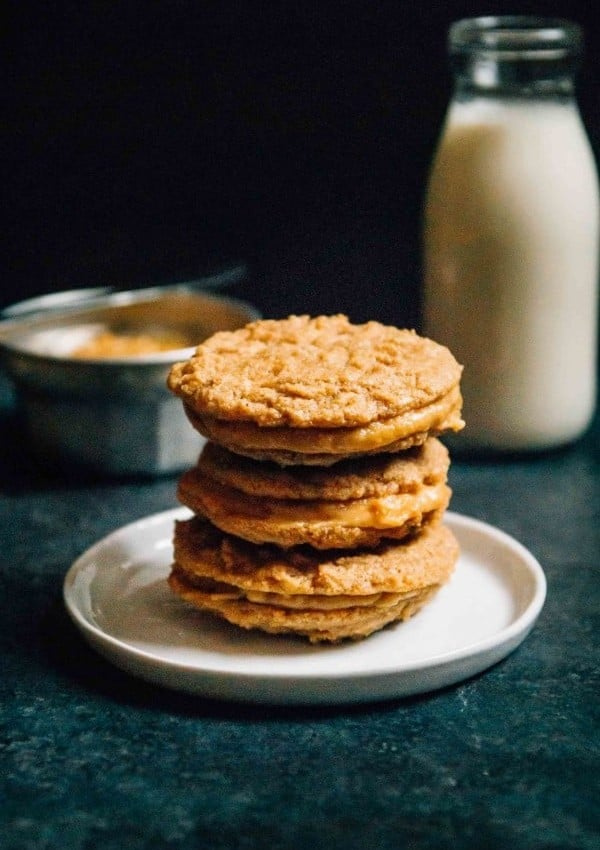 Vegan Nutter Butters- A homemade version of a childhood favorite, crisp nutter butter cookies with a sweet peanut butter filling!