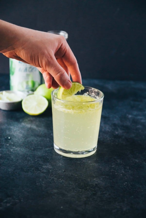 Virgin Agave Lime Margarita- A virgin margarita with agave and lime, sweet and bubbly! Pairs perfectly with tacos or sitting in the sun on a beach.