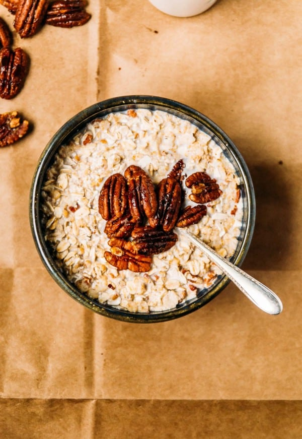 Bourbon Maple Candied Pecans- The perfect topping for ice cream, oatmeal, and everything in between! Candied pecans with a perfect sweet salty mix, with a touch of bourbon.