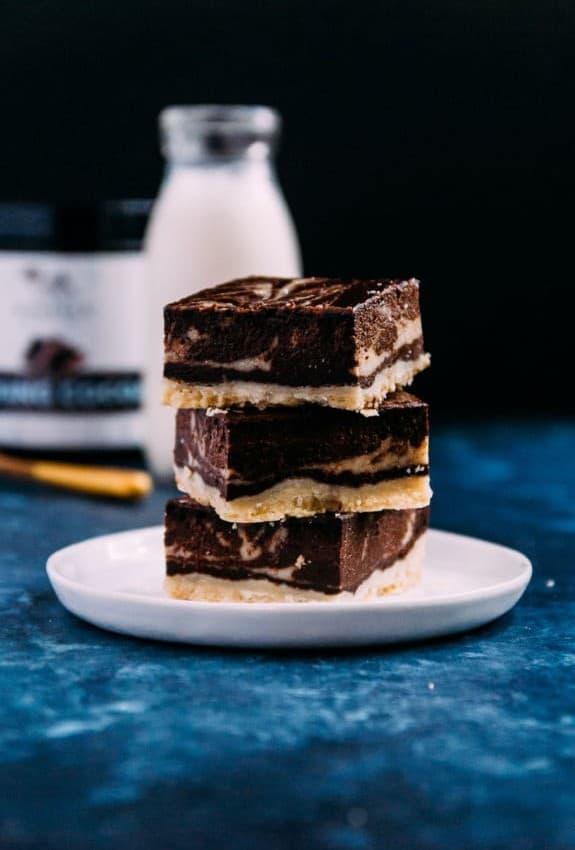 Chocolate Bourbon Vegan Cheesecake Bars