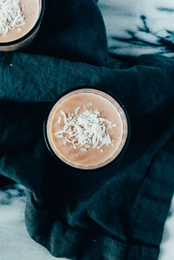 Coconut and Roasted Rhubarb Smoothie- A perfect sweet summertime smoothie, with roasted rhubarb and plenty of coconut!