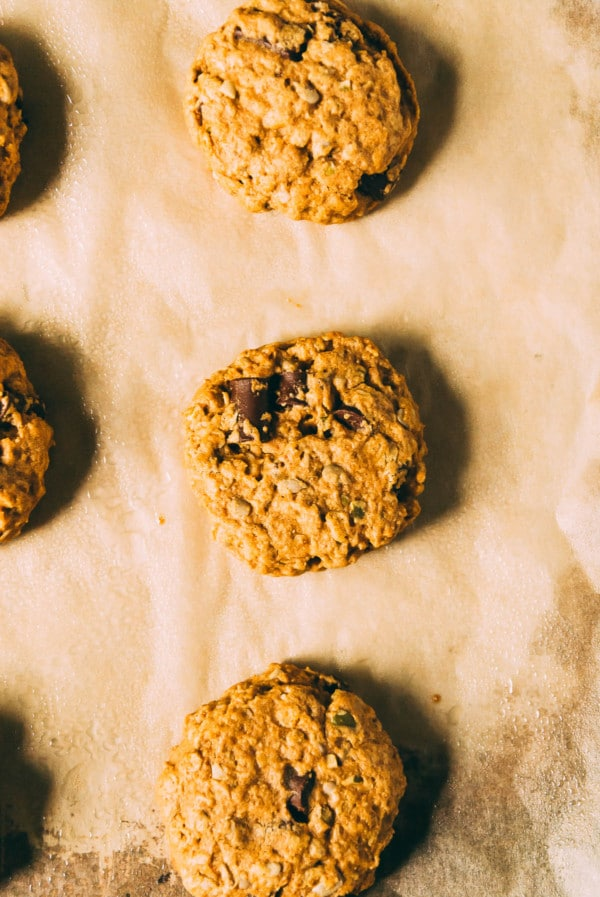 Perfect for snacks or on the go breakfasts, these chewy and hearty vegan breakfast cookies are filled with dried fruit, seeds, and of course, chocolate chunks!
