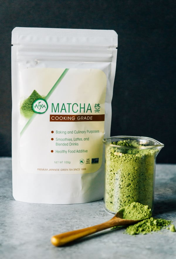 A vegan matcha latte float topped with easy homemade vegan vanilla ice cream. The perfect way to cool off this summer!