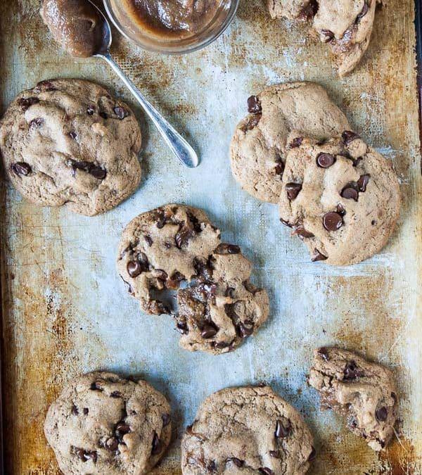 Caramel-Stuffed Vegan Chocolate Chip Cookies