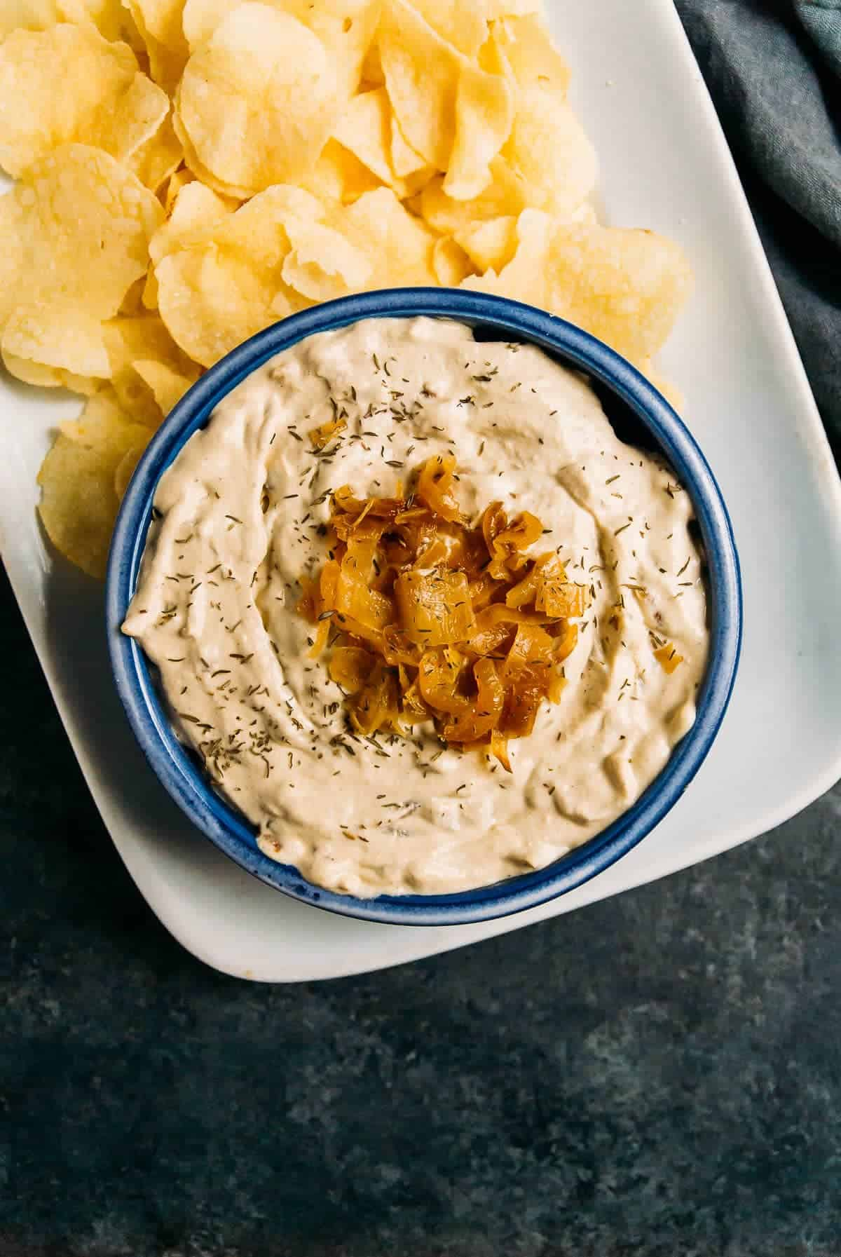 Gluten Free+ Vegan French Onion Dip will be your favorite snack for game day, parties, and everything in between! Can be made soy free.