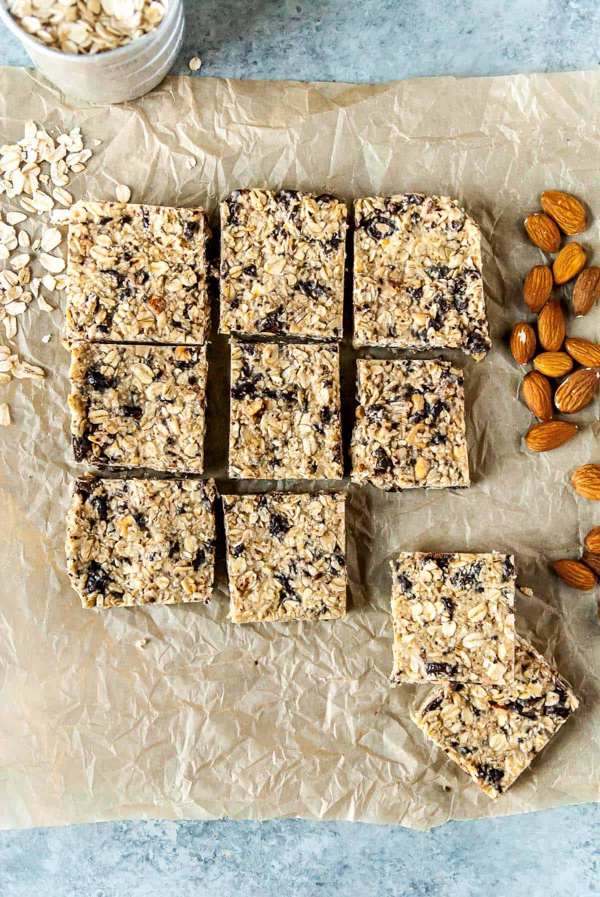 vegan granola bar slices on parchment paper