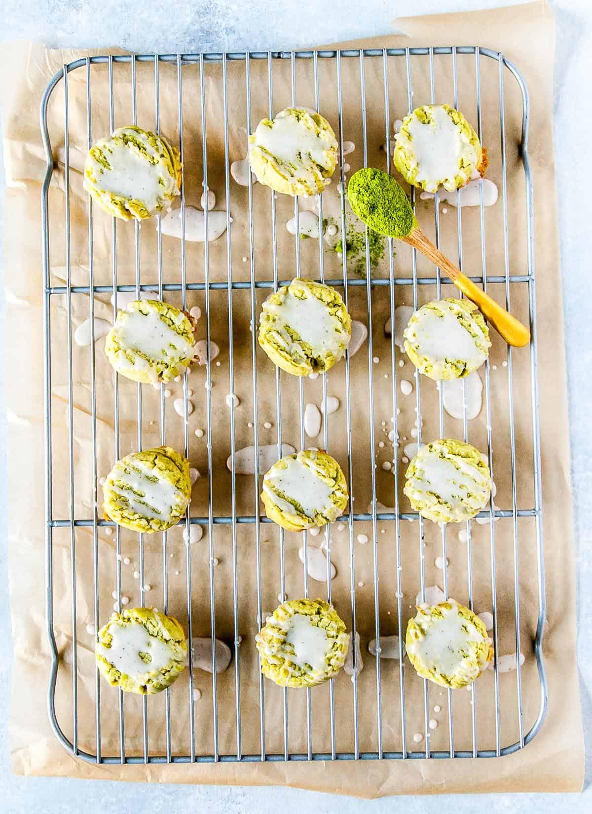 matcha shortbread cookies on wire rack