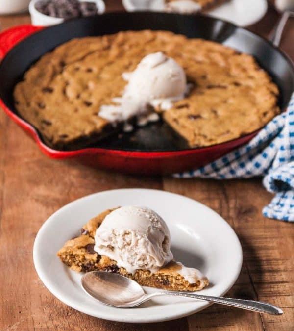 Vegan Deep Dish Chocolate Chip Skillet Cookie