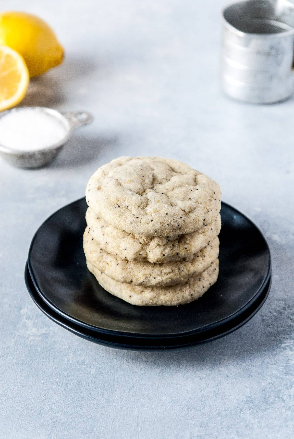 Stacked citrus poppy seed vegan sugar cookies