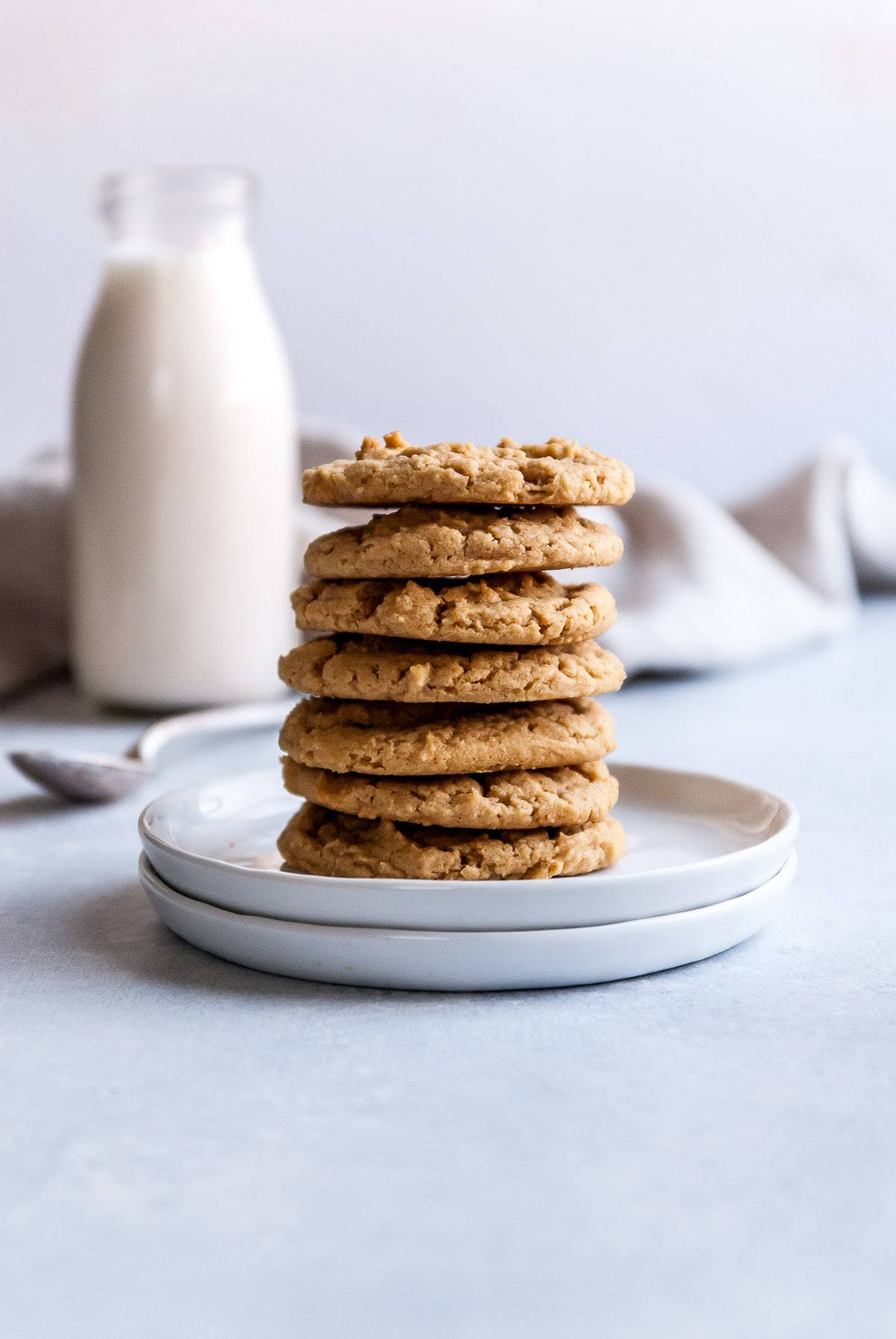 vegan peanut butter cookies stacked on plate