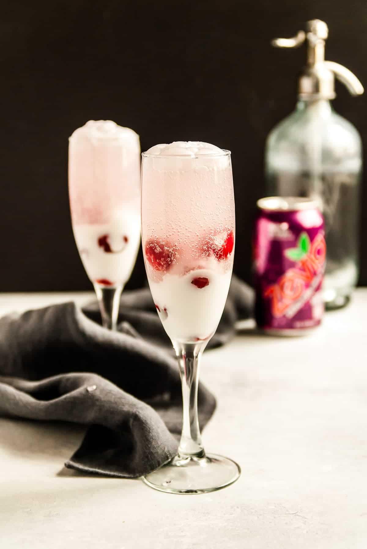 glasses of cherry coconut float