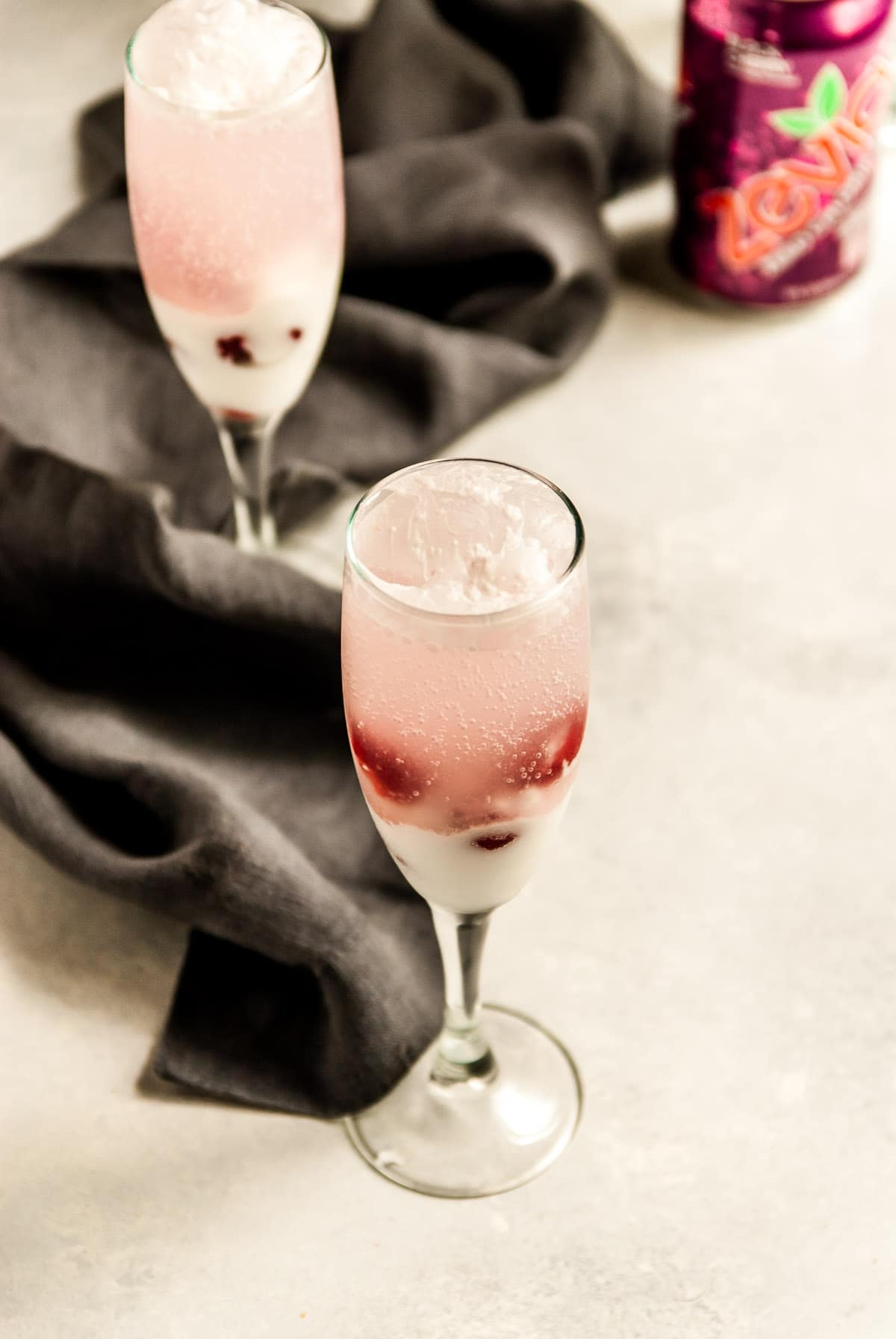 cherry coconut spritzer in glasses