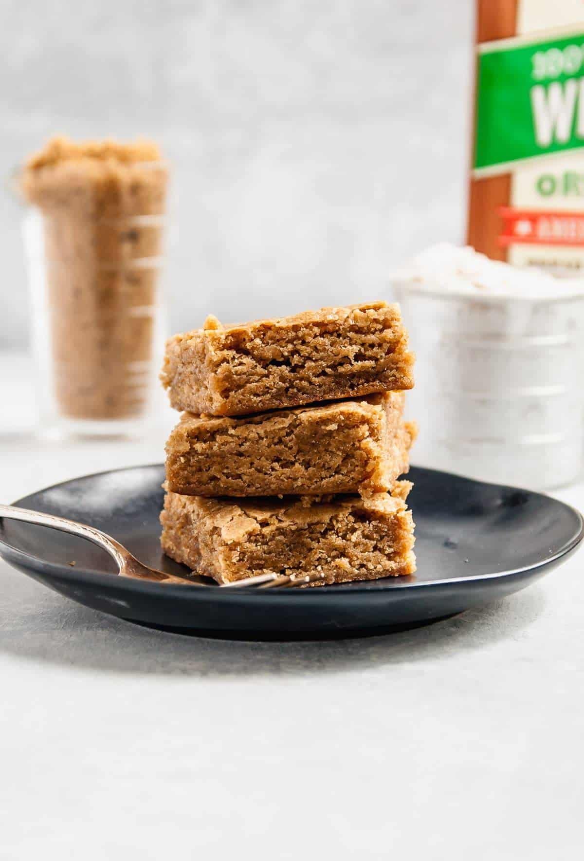 whole wheat blondies on plate