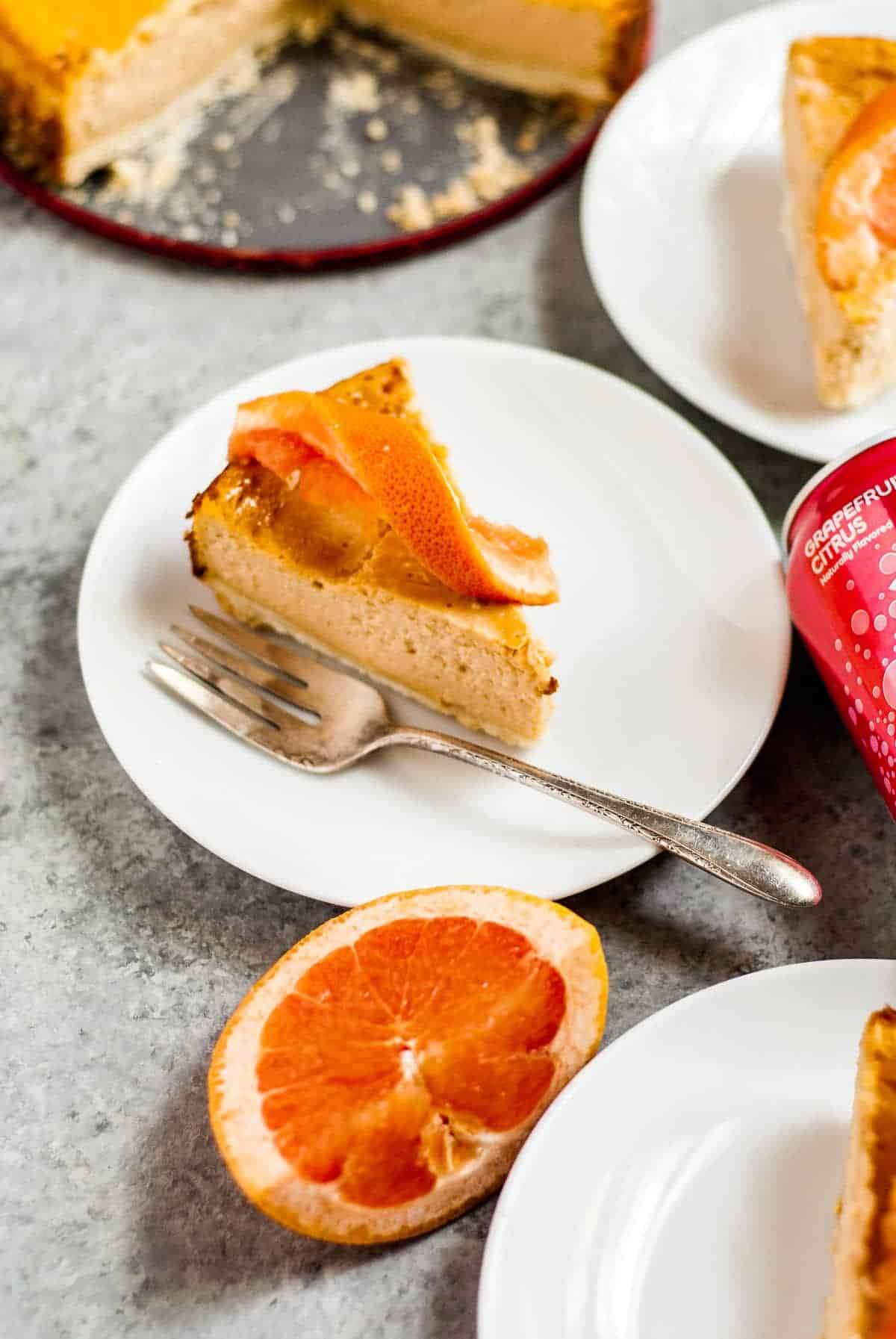 slice of cheesecake with grapefruit