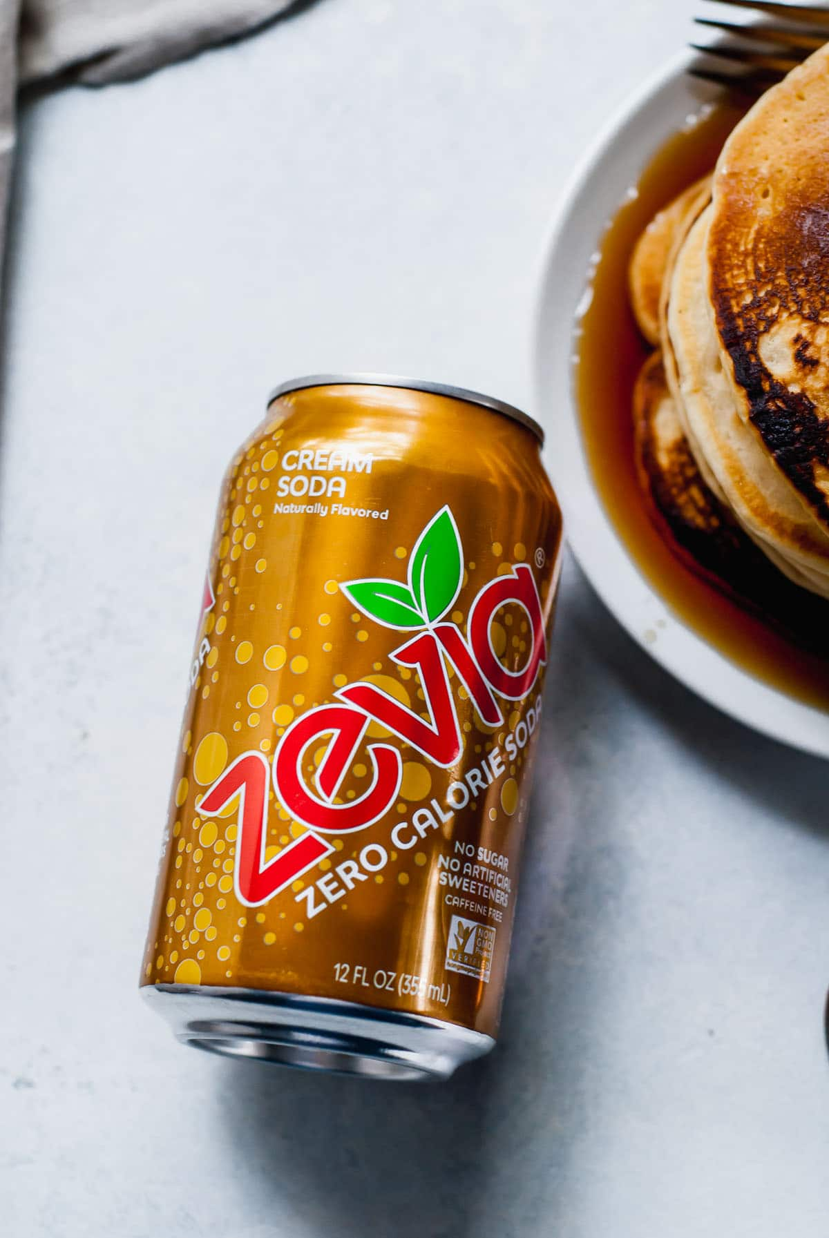 can of zevia cream soda on a light background