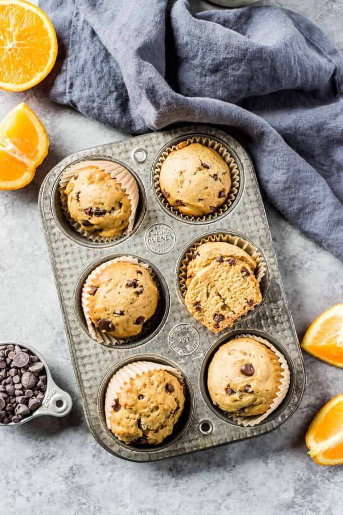 Muffins in tray with oranges