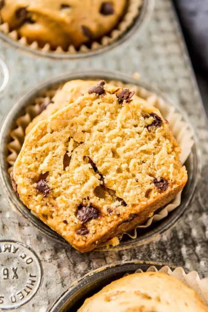Close up of chocolate orange muffin
