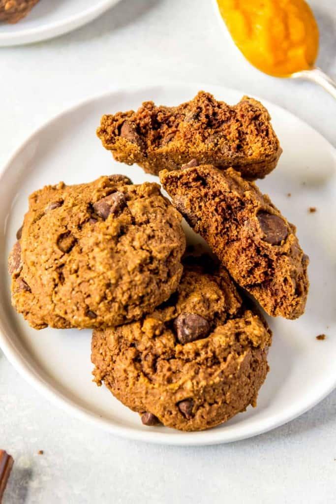 Close up of a plate of vegan chocolate pumpkin cookies