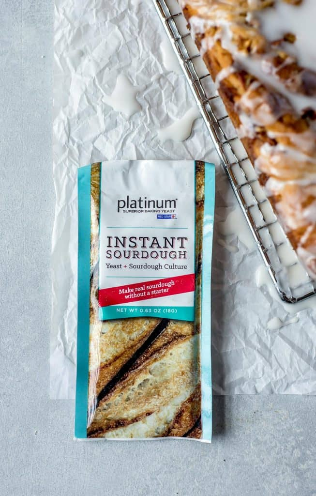 package of instant sourdough on white background