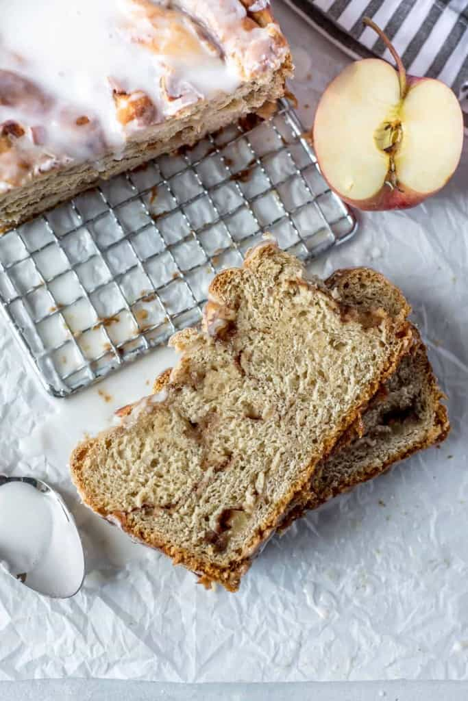slices of apple cinnamon babka on white background