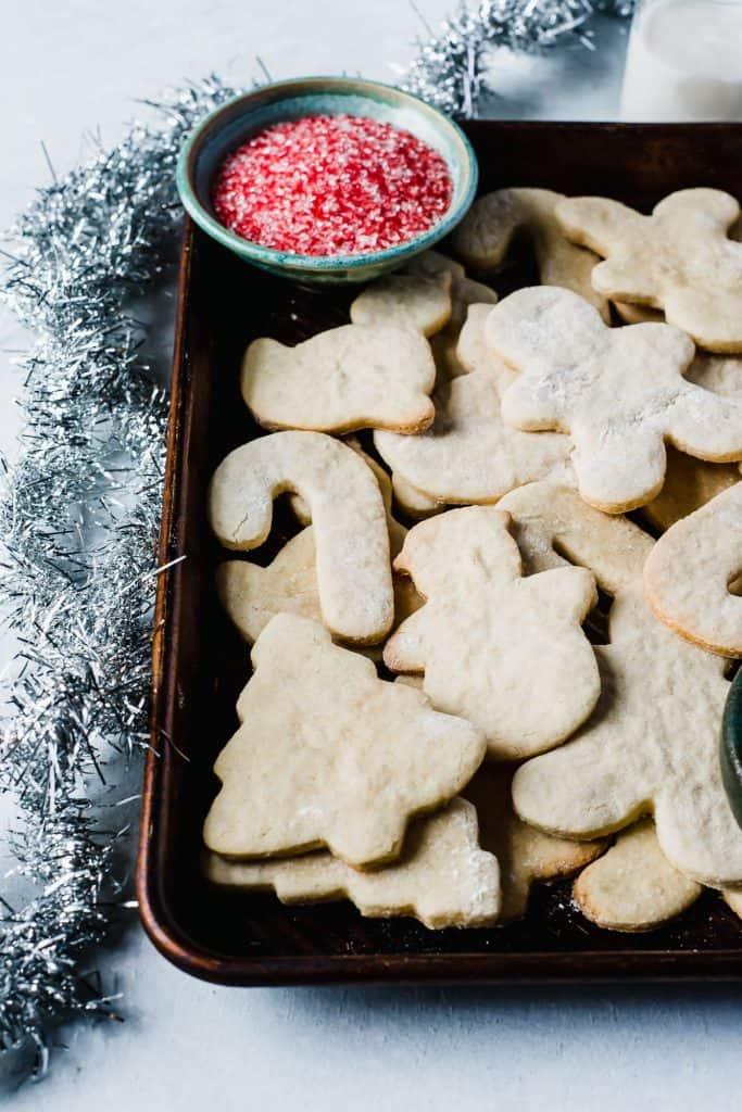 Tray of vegan sugar cookies